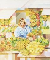 「果物売り」ジョビト・サストーナ 口で描く 1963年生まれ フィリピン在住